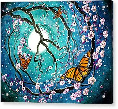 Monarch Butterflies In Teal Moonlight Acrylic Print by Laura Iverson