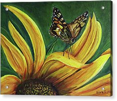 Monarch Butterfly On A Sunflower Acrylic Print by Silvia Philippsohn