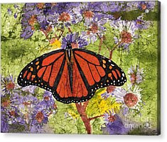 Monarch Butterfly On Purple Flowers Watercolor Batik Acrylic Print