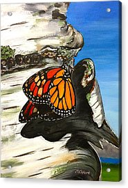 Monarch On Birch Acrylic Print