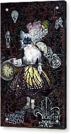 Acrylic Print featuring the mixed media Monarch Steampunk Goddess by Genevieve Esson