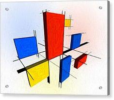 Mondrian 3d Acrylic Print by Michael Tompsett
