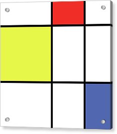 Mondrian Style Minimalist Pattern In Blue, Red And Yellow 01 Acrylic Print