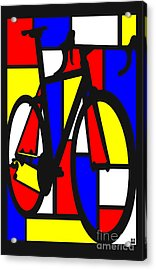 Acrylic Print featuring the painting Mondrianesque Road Bike by Sassan Filsoof