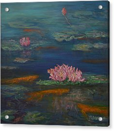 Monet Inspired Water Lilies With Gold Fish In A Pond Acrylic Print