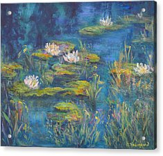 Monet Style Water Lily Marsh Wetland Landscape Painting Acrylic Print