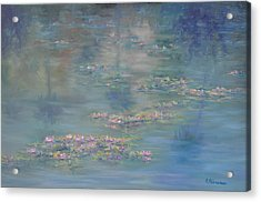 Monet Style Water Lily Peaceful Tropical Garden Painting Print Acrylic Print