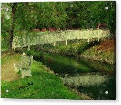 Monet's Bridge Acrylic Print by Eddie Durrett