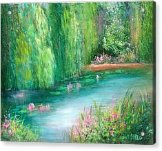 Monet's Pond Acrylic Print by Sally Seago