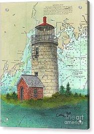 Monhegan Island Lighthouse Nautical Chart Map Maine Acrylic Print by Cathy Peek