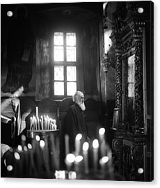 Monk And Candles Acrylic Print by Emanuel Tanjala