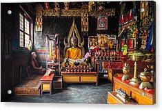 Kathmandu Monk Acrylic Print by Marty Garland