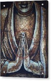 Monk Praying Acrylic Print by Paulina Garoa