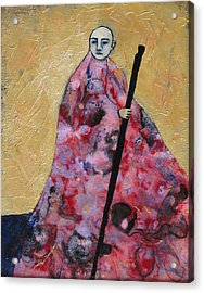 Monk With Walking Stick Acrylic Print by Pauline Lim