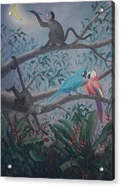Monkey Artist Painting The Moon  Acrylic Print