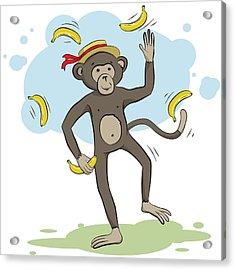 Monkey Juggling Bananas Acrylic Print