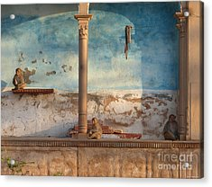 Acrylic Print featuring the photograph Monkeys At Sunset by Jean luc Comperat