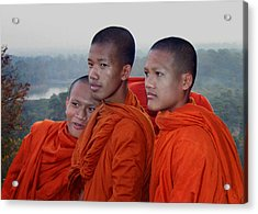 Monks At Angkor Wat Acrylic Print