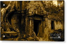 Monks Leaving Angkor Wat Acrylic Print