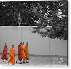 Monks On The Way Home Acrylic Print