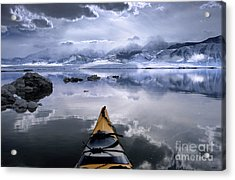 Mono Lake Winter Kayak Acrylic Print by Buck Forester