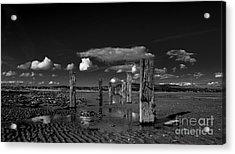 Monochrome Groynes Acrylic Print