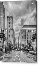Monochrome Image Of The Marshall Suloway And Lasalle Street Canyon Over Chicago River - Illinois Acrylic Print
