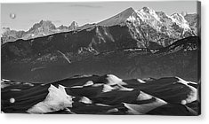 Monochrome Morning Sand Dunes And Snow Covered Peaks Acrylic Print by James BO Insogna
