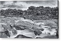 Monochrome Panorama Of Pedernales Falls State Park - Texas Hill Country Acrylic Print by Silvio Ligutti