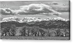 Acrylic Print featuring the photograph Monochrome Rocky Mountain Front Range Panorama Range Panorama by James BO Insogna