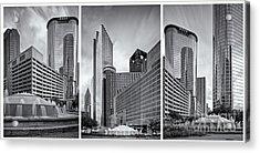 Monochrome Triptych Of Downtown Houston Buildings - Harris County Texas Acrylic Print