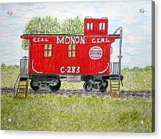 Acrylic Print featuring the painting Monon Wood Caboose Train C 283 1950s by Kathy Marrs Chandler