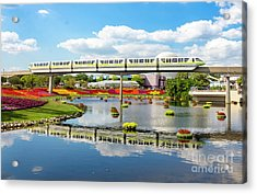 Monorail Cruise Over The Flower Garden. Acrylic Print