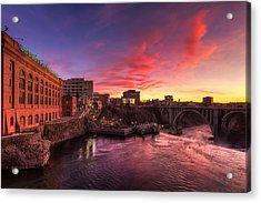 Monroe Bridge Sunset View Acrylic Print