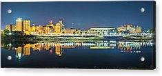 Monroe Louisiana City Skyline At Night Acrylic Print