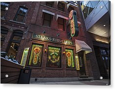 Acrylic Print featuring the photograph Monroe St Steakhouse by Nicholas Grunas