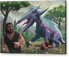 Acrylic Print featuring the painting Monster Attacking Cavemen by Martin Davey