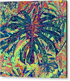 Acrylic Print featuring the digital art Monstera Leaf Patterns - Square by Kerri Ligatich