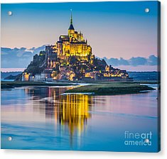 Mont Saint-michel In Twilight Acrylic Print