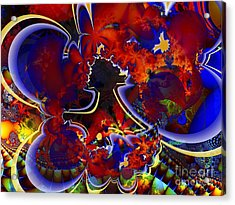 Montage In Reds And Blues Acrylic Print by Ron Bissett
