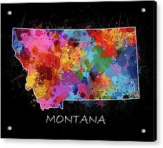 Montana Map Color Splatter 2 Acrylic Print