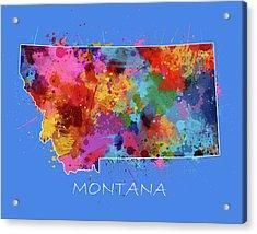 Montana Map Color Splatter 3 Acrylic Print