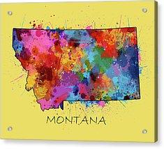 Montana Map Color Splatter 4 Acrylic Print