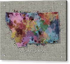Montana Map Color Splatter 5 Acrylic Print