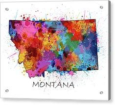 Montana Map Color Splatter Acrylic Print