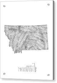 Montana Map Music Notes Acrylic Print