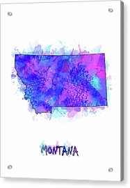 Montana Map Watercolor 2 Acrylic Print