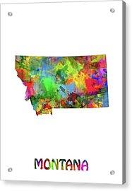 Montana Map Watercolor Acrylic Print