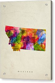 Montana State Map 02 Acrylic Print by Aged Pixel