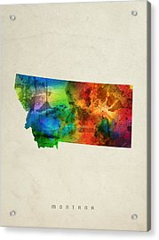 Montana State Map 03 Acrylic Print by Aged Pixel